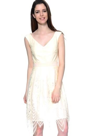 Little Mistress Askılı Abiye Elbise Krem
